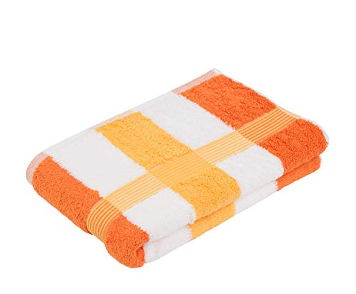 Gözze New York Toalla de Ducha, 100% Algodón, Naranja/Blanco/Amarillo, 70 x 140 cm