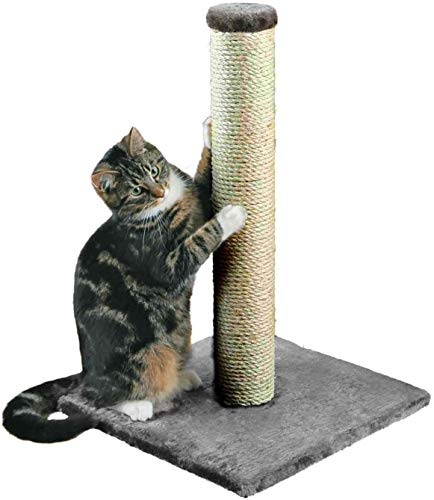 DIVCHI 16  Cat Scratching Post 40 cm, Natural Sisal Pole and Carpet Covered Heavy Base, Vertical Full Scratcher,Platinum Grey