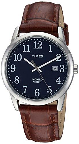 Timex Easy Reader - Reloj con correa de piel (38 mm), Marrón Croco/Plata/Azul,