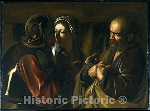 Historic Pictoric Art Print : Caravaggio (Michelangelo Merisi) - The Denial of Saint Peter : Vintage Wall Décor : 10in x 08in