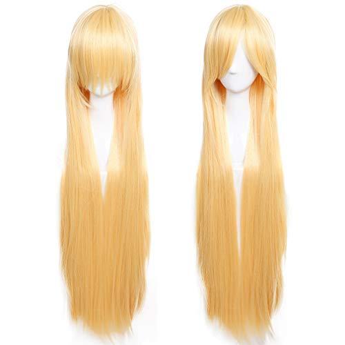 100cm Parrucca Nera Lunga da Donna Capelli Lunghi Lisci Straight Parrucche Per Halloween Cosplay Travestimento Cosplay Alta Qualità Resistente al Calore