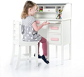Guidecraft Jr. Roll-Top Desk - White: Kids Wooden Study Table and Chair Set, Toddlers Classrooms & Playrooms Furniture, Multiple Storage Shelf & Two Drawers