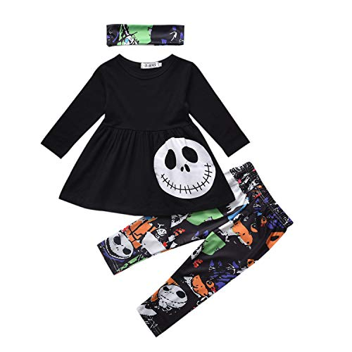 3PCS Baby Girls Halloween Outfits Skull Tops Ghost Leggings Pants with Headband Black