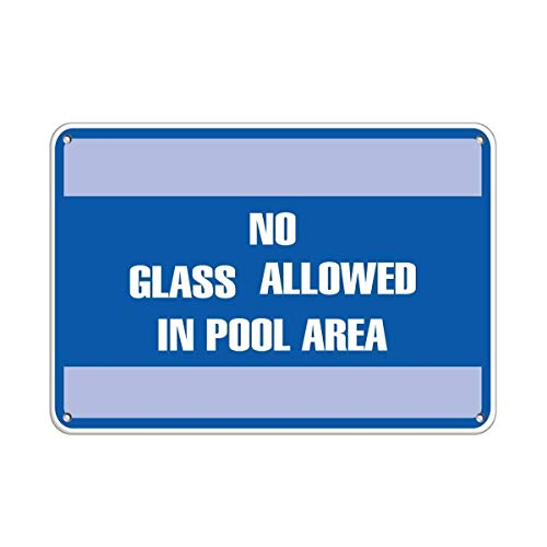 Lionkin8 Warnschild No Glass Allowed in Pool Area Pool Road Business Schild Aluminium Metallschild 20,3 x 30,5 cm