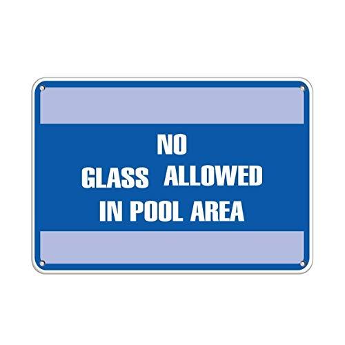 Lionkin8 Warnschild No Glass Allowed in Pool Area Pool Road Business Schild Aluminium Metallschild 20,3 x 30,5 cm