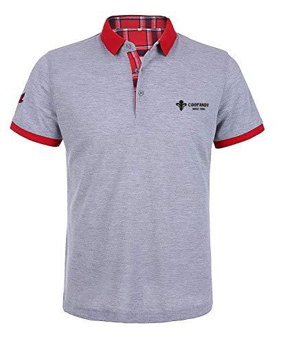 COOFANDY Herren Poloshirt Kurzarm Polohemd Regular Fit Polo Sommerhemd Einfarbig Tshirt Freizeit Polo Shirt Grau M