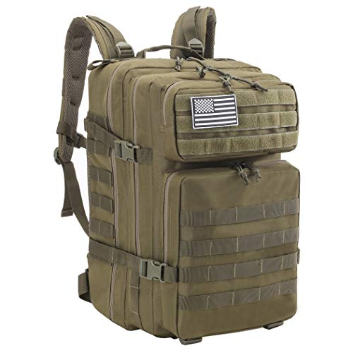Dunnta Tactical Backpack, 3 Day Assault Pack Molle Bug Out Bag 42L Military Backpack for Hiking Camping Trekking Army Green