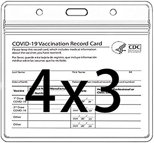 CDC Vaccination Card Protector 4X3 in Immunization Record Vaccine Card Holders Horizontal Badge I'd Name Tag Clear PVC Sleeve Waterproof Pouch Resealable Zip Lanyard Slots for Events Travel 2 PCS
