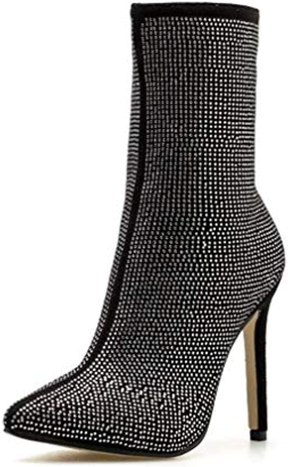 T-JULY Women Ankle Boots Roman High Heels Luxury Diamond Stiletto Booties Fashion Brand Design Sexy Ladies Party shoes