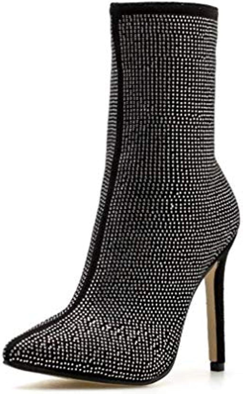 T T T -JULY kvinnor Ankle stövlar Roman High klackar Lyxy Diamond Stiletto Booslipss Mode Brand Sexiga dampartiskor  upp till 60% rabatt