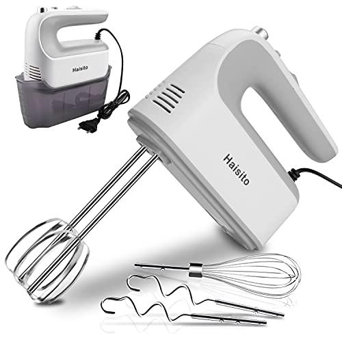 Haisito Handmixer Elektrisch, 350W Handrührgerät mit Scale Cup-Aufbewahrungskoffer, 5 Stufen Mixer Handrührer, 5 Edelstahlaufsätze,1 Schneebesen 2 Rühraufsätze und 2 Knethaken aus Edelstahl, weiß