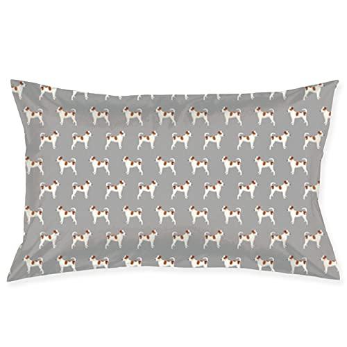 Tela de perro de raza mixta tela de perro de tela de perro para mascotas, color marrón, blanco, perro manchado, linda funda de almohada de 50,8 x 76,2 cm, funda de cojín cuadrada