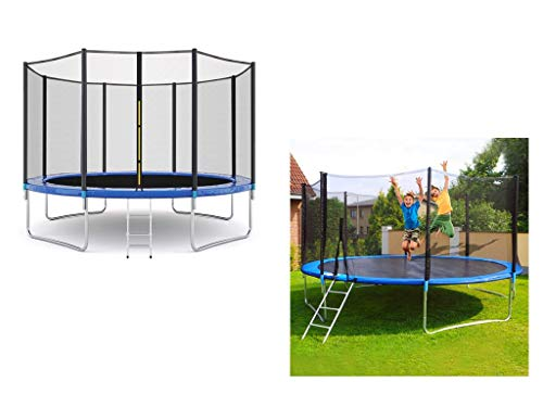 12 FT Kids Trampoline with Enclosure Net and Spring Cover Padding, Outdoor Large Recreational Funny Trampolines for Home Parent-Child Interactive Games, Best Gifts for Kids Birthday Or Graduation, 600
