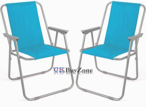 Striped Blue Green Folding Beach Camping Fishing Chair Garden Outdoor Furniture (2 x Blue)