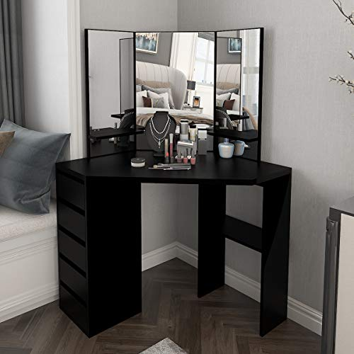 TITISKIN Corner Vanity Makeup Desk Dressing Table with Tri-Folding Mirror and 5 Drawers Wooden Corner Makeup Vanity Table for Grils, Black