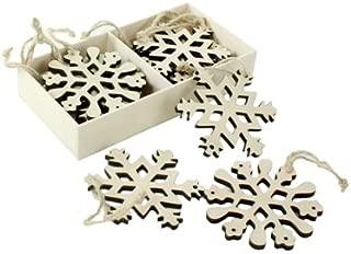Wood Snowflake Cutout Christmas Ornaments, Gift Tag, Box of 12