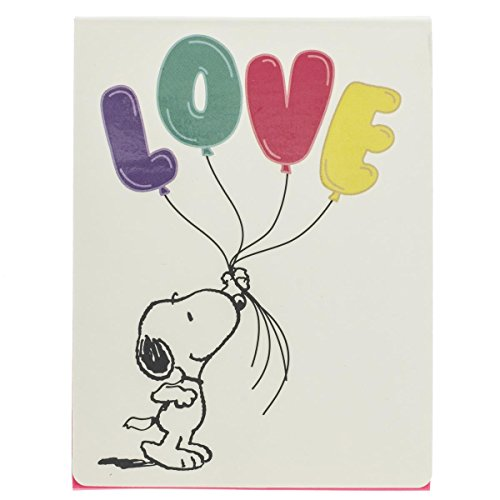 Graphique Peanuts Snoopy Love Purse Notes – Caderno de bolso com Snoopy sorrindo segurando balões de amor coloridos e capa magnética combinando, 75 páginas coloridas, 7,6 x 10 cm