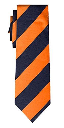 Cravate soie rayée stripe L orange navy
