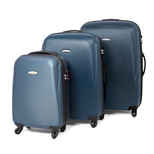 MasterGear Hartschalenkoffer Set aus ABS mit Reißverschluss in blau (petrol) , 3er Kofferset , Koffer 4 Rollen (360 Grad) , Trolley, Reisekoffer, TSA,...