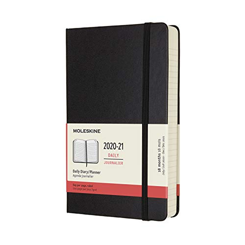 Moleskine 18 Month 2020-2021 Daily Planner, Hard Cover, 5 inches X 8.25 inches (8.05385E+12)