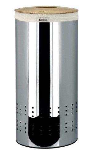Brabantia Wäschesammler 30 l, Holzdeckel, Woodline/Brilliant Steel