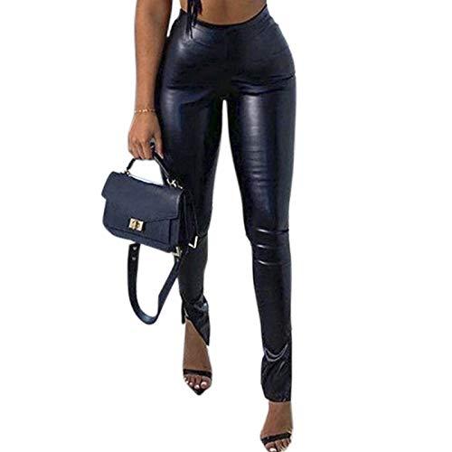 VWIWV Women's Faux Leather Legging Punk Solid Color Pu High Waist Hem Split Pants Black
