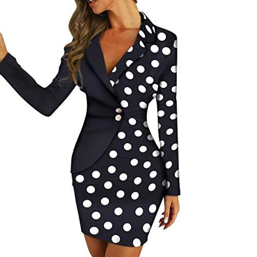 ZODOF Vestidos Mujer Fiesta con Botones de Doble Fila - Vestidos de Fiesta Mujer Cortos Elegantes para Boda, Dress Falda Juveniles Oficina Corto Midi Tallas Grandes