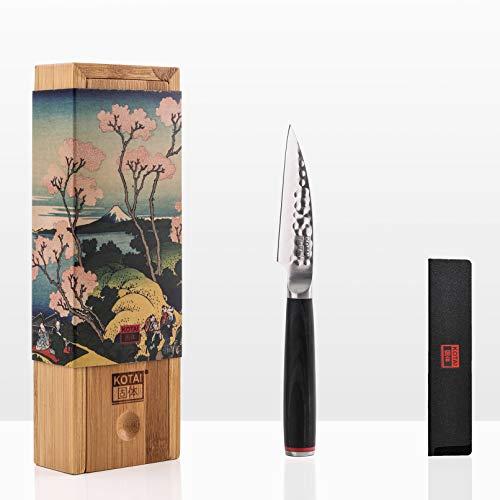 KOTAI - Couteau d'Office (Couteau ou Couteau à Fruits) - Lame de 10 cm - Fabriqué et Aiguisé à la Main - Acier Inoxydable Japonais 440C Ultra-Tranchant et Manche en Pakkawood - Pleine Soie Cachée