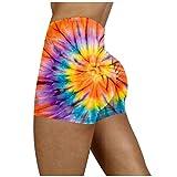 justsell🍒pantaloncini per le donne atletico, stampato a tintura ragazza yoga a vita alta pantaloncini collant caldi vita corta palestra allenamento leggings da corsa pantaloncini