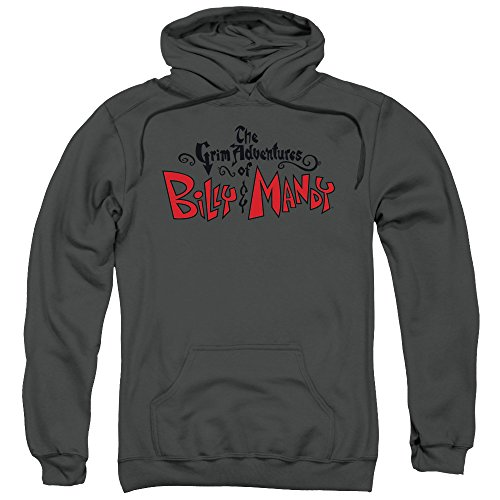 Grim Adventures & di Billy Mandy, motivo: Grim-Felpa con cappuccio da uomo con Logo Nero  grigio