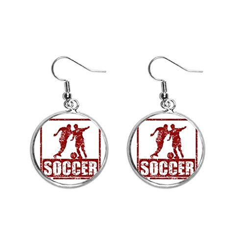 Rode voetballer pak voetbal oor Dangle zilver Drop oorbel sieraden vrouw