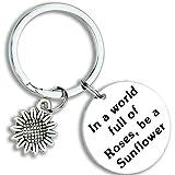 Kivosliviz Sunflower Keychain Sunflower Lover Gift in A World Full of Roses Be a Sunflower...