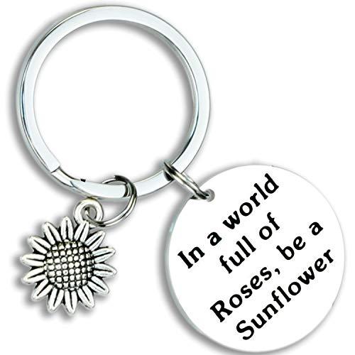 Kivosliviz Sunflower Keychain Sunflower Lover Gift in A World Full of Roses Be a Sunflower Inspiration Girl Jewelry Gift for Friend