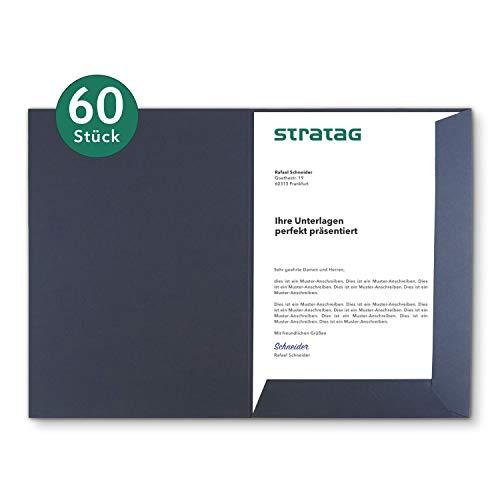 Präsentationsmappe A4 in Marineblau 60 Stück (wählbar) - erhältlich in 7 Farben - direkt vom Hersteller STRATAG - vielseitig einsetzbar für Ihre Angebote, Exposés, Projekte oder Geschäftsberichte