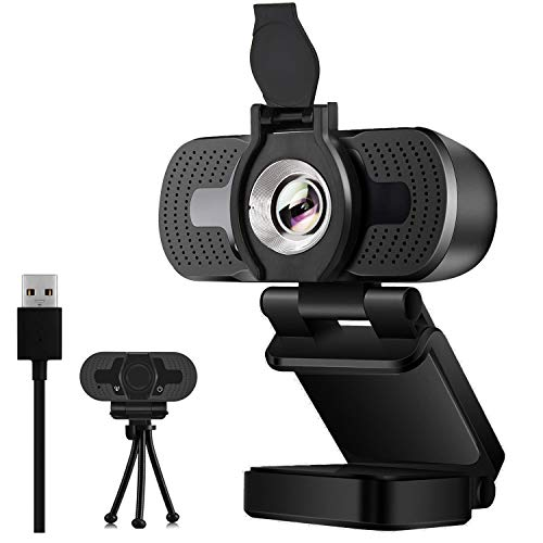 Webcam with Microphone,1080P HD Webcam Desktop or Laptop, Streaming Webcam for Computer Widescreen Video Calling and Recording, USB Web Camera Built-in Mic, Flexible Rotatable Clip and Tripod
