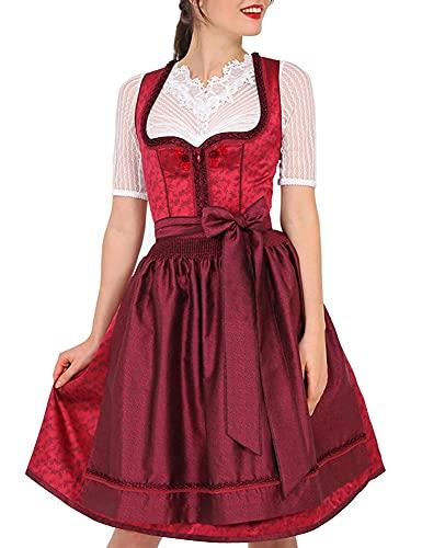Krüger MADL Damen Dirndl Fabia 49896 - Rot 60cm Gr. 36