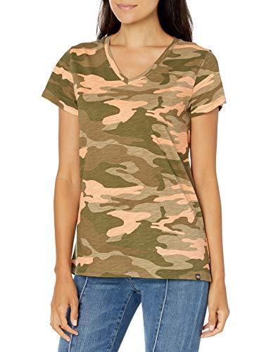 Dickies Women's Short Sleeve V-Neck T-Shirt, Peach Camo, M