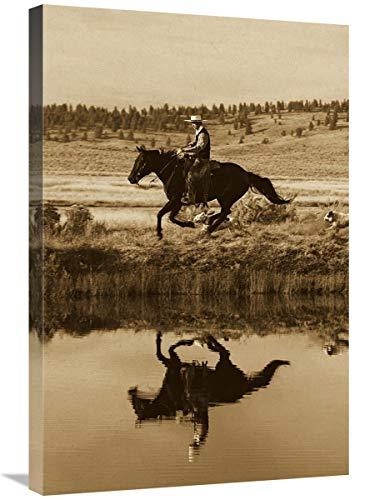 Global Gallery Caballo de Vaquero al Lado del Estanque con Dos Perros, Oregon – Lienzo de Sepia, 50,8 x 76,2 cm