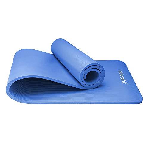ATIVAFIT Tapis d'exercice Tapis d'entraînement NBR avec Courroie de Transport 183x61x1cm pour Pilates, Fitness & Workout (Bleu)