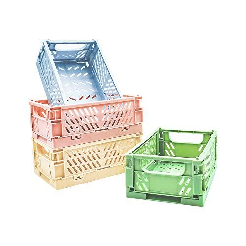 POTTIIS 4-Pack Mini Baskets Plastic for Shelf Home Kitchen Storage Bin Organizer Stacking Folding Storage Baskets for Classroom Bedroom Bathroom Office 59 x 38 x 22