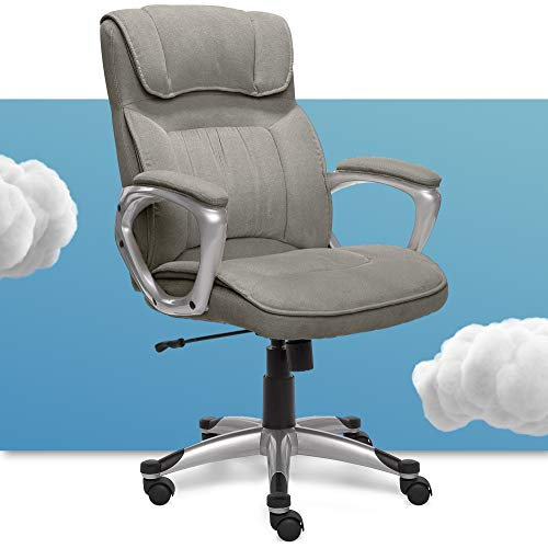 Serta Executive Office Chair Ergonomic Computer Upholstered Layered Body Pillows, Contoured Lumbar Zone, Black Base, Fabric, Grey/Silver