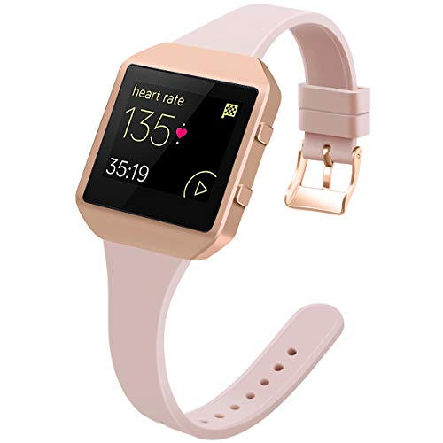 YiJYi Slim Bands Compatible with Fitbit Blaze,Thinner Soft Silicone Band with Metal Frame Replacement Wristband for Women Men Small Large (Small(5.5'-7.5'), Sand Pink/Rose Gold Frame)
