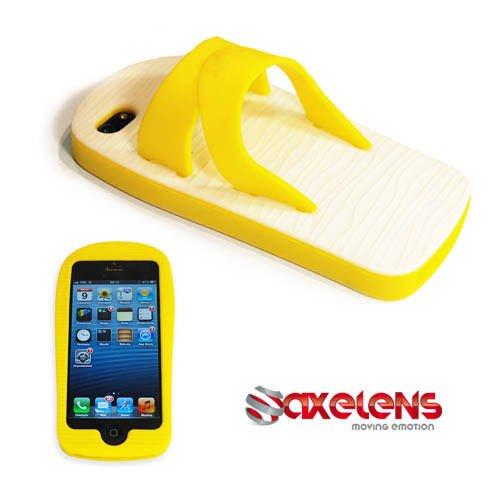 axelens Funda Carcasa DE Silicona para iPhone 4 Y 4S - Flip Case Cover Smartphone - Zapatilla Chancletas Sandalias - Amarillo