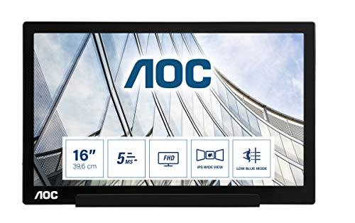 AOC i1601Fwux: monitor portátil FHD alimentado por USB-C de 16 pulgadas, cubierta inteligente, pivote automático, modo azul bajo, USB-C (modo DP Alt) 1920 x 1080 FHD