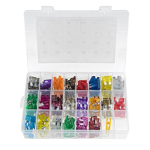 YIKXCF 242pcs / Lote camión de automóviles fusibles Auto Mini Kits de fusibles de Hoja estándar con Clip 2-40A Partes de Repuesto automático 3A 7.5A 20A (Color : A)