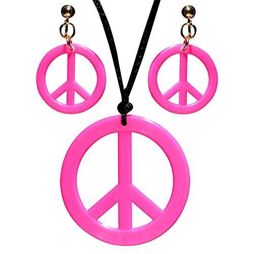 Widmann 53281 - Schmuckset Hippie, Halskette und Ohrringe, Pink, Flower Power, Peace, Blumenmädchen, Mottoparty, Karneval