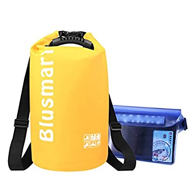 Blusmart 10L/20L Waterproof Dry Bags + Waterproof Waist Pouch, Perfect for Kayaking / Boating / Canoeing / Fishing / Rafting / Swimming / Camping / Snowboarding(20L Yellow)