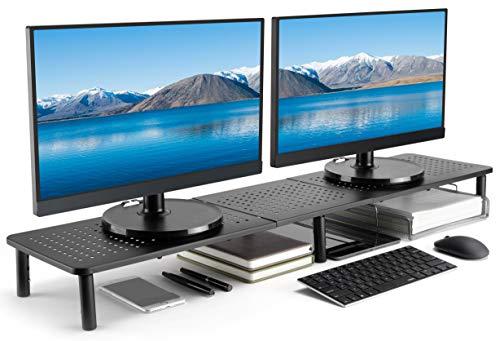Husky Mounts — Suporte para monitor duplo, pernas ajustáveis, altura máxima de 99 cm x 23,5 cm x 14 cm, aço preto fosco