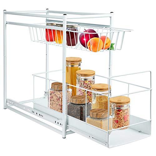 ONVAYA® Küchenregal zum Rausziehen   Einbauschublade   Korbauszug   Schublade   45 x 23 x 45 cm   Einbauregal Metall   weiß   zum Einbau in Küchenunterschränke   Zwei Aufbewahrungskörbe