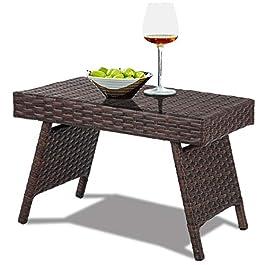 Costway Table de Jardin en Rotin Pliante Structure en Fer Table Basse Tréssée pour Salon Jardin Balcon Terrasse 60 x 40…